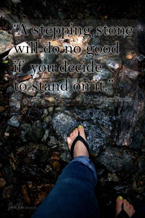 """A stepping stone will do no good if you decide to stand on it.""  —Max Tardie"