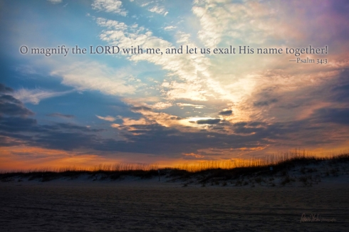 O magnify the LORD with me, and let us exalt Him together.  —Psalm 34:3