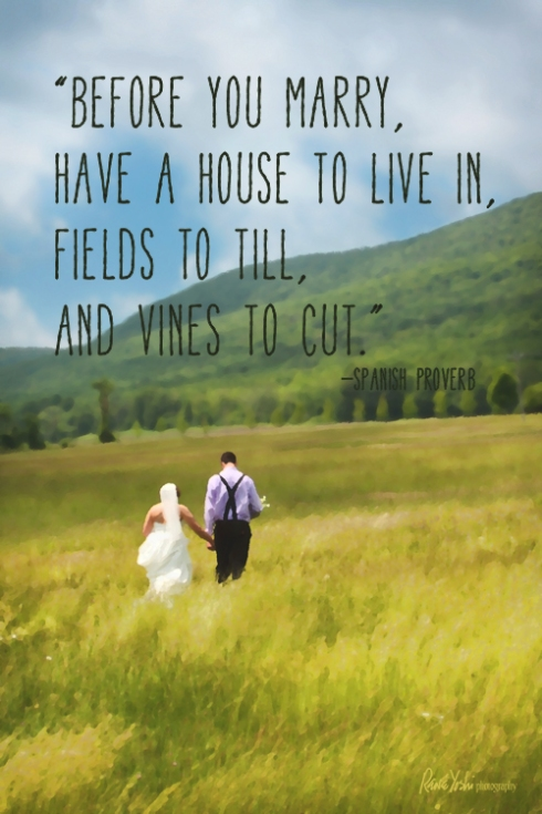 """Before you marry, have a house to live in, fields to till, and vines to cut.""  —Spanish proverb"